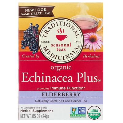 Купить Органическая эхинацея Plus, бузина, без кофеина, 16чайных пакетиков, 24г (0, 85 унции)