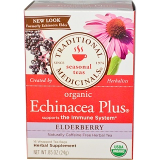 Traditional Medicinals, Seasonal Teas, Organic Echinacea Plus, Naturally Caffeine Free, Elderberry, 16 Wrapped Tea Bags, .85 oz (24 g)