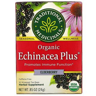 Traditional Medicinals, EchinaceaPlus, Té orgánico, Saúco, Sin cafeína, 16bolsitas de té envueltas, 24g (0,85oz)