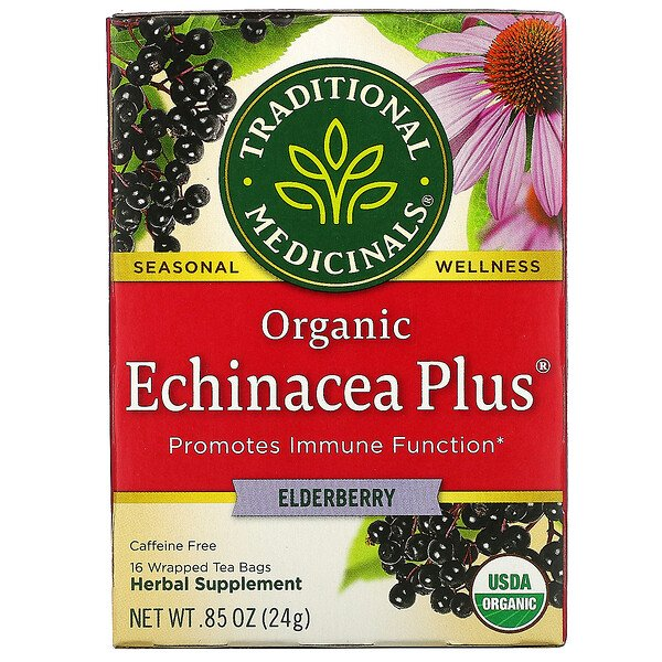Organic Echinacea Plus, Elderberry, Caffeine Free, 16 Wrapped Tea Bags, .85 oz (24 g)