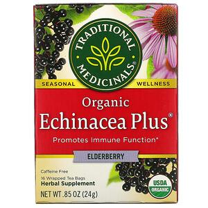 Традитионал Медисиналс, Organic Echinacea Plus, Elderberry, Caffeine Free, 16 Wrapped Tea Bags, .85 oz (24 g) отзывы