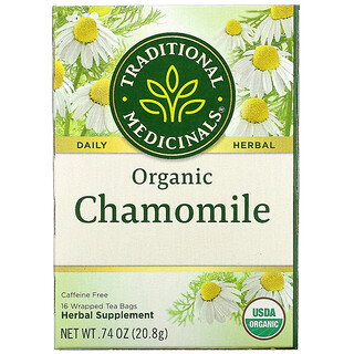 Traditional Medicinals, Organic Chamomile, Caffeine Free, 16 Wrapped Tea Bags, .74 oz (20.8 g)