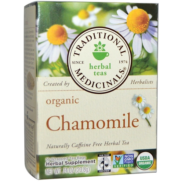 Herbal Teas, Organic Chamomile, Naturally Caffeine Free, 16 Wrapped Tea Bags, .74 oz (20.8 g)