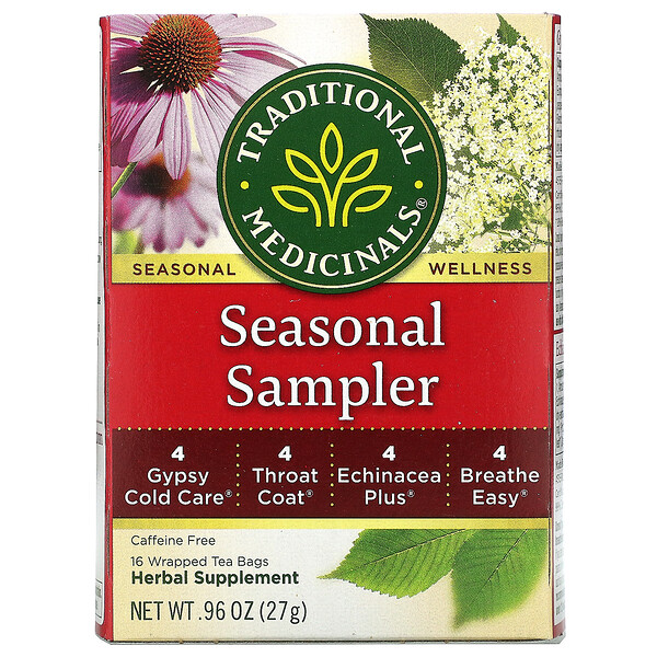 Traditional Medicinals, Seasonal Teas, Seasonal Sampler, Naturally Caffeine Free, 16 Wrapped Tea Bags, .96 oz (27 g) (Discontinued Item)