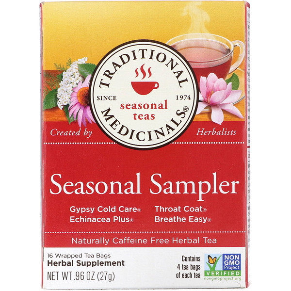 Seasonal Teas, Seasonal Sampler, Naturally Caffeine Free, 16 Wrapped Tea Bags, .96 oz (27 g)