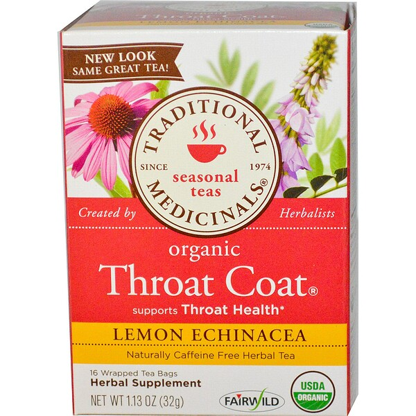 Traditional Medicinals, Seasonal Teas, Organic Throat Coat, Naturally Caffeine Free, Lemon Echinacea, 16 Wrapped Tea Bags, 1.13 oz (32 g) (Discontinued Item)