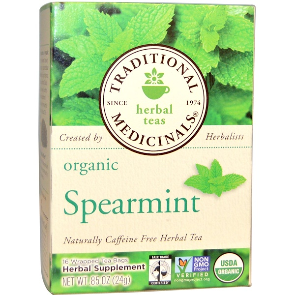 Traditional Medicinals, Herbal Teas, Organic Spearmint, Naturally Caffeine Free, 16 Wrapped Tea Bags, .85 oz (24 g)