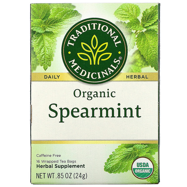 Organic Spearmint, Caffeine Free, 16 Wrapped Tea Bags, .85 oz (24 g)