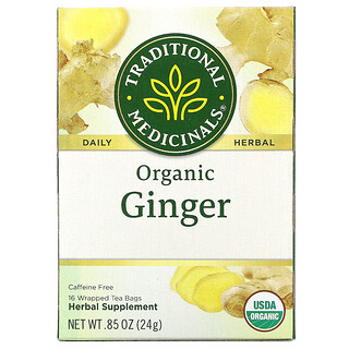 Traditional Medicinals, Organic Ginger, Caffeine Free, 16 Wrapped Tea Bags, .85 oz (24 g) Each