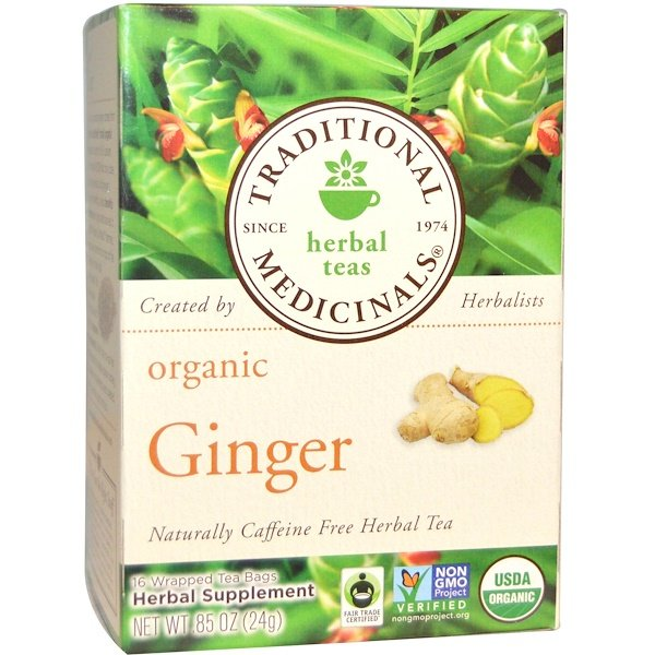 Herbal Teas, Organic Ginger, Naturally Caffeine Free, 16 Wrapped Tea Bags, .85 oz (24 g) Each