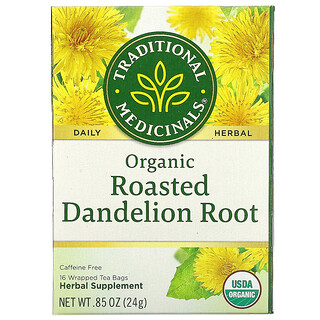 Traditional Medicinals, органический обжаренный корень одуванчика, без кофеина, 16чайных пакетиков в упаковке, 24г (0,85унции)