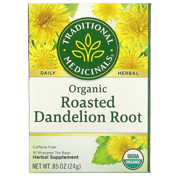 Organic Roasted Dandelion Root, Caffeine Free, 16 Wrapped Tea Bags, .85 oz (24 g)