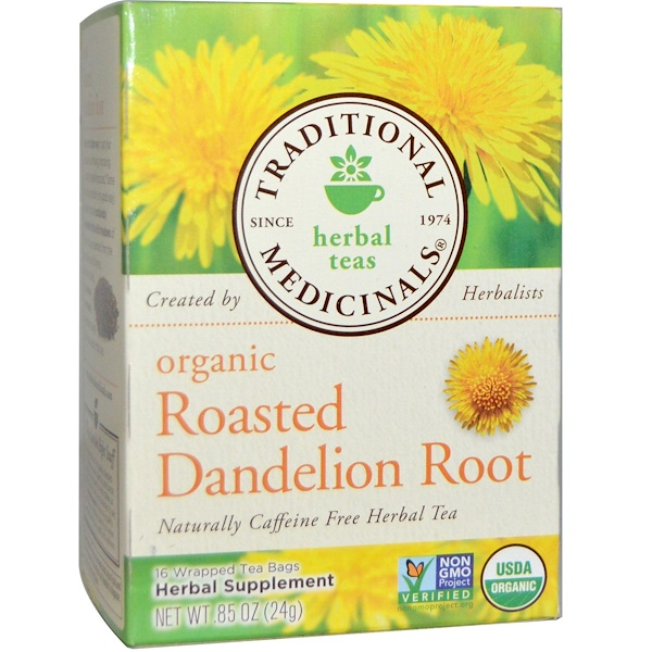 Herbal Teas, Organic Roasted Dandelion Root, Naturally Caffeine Free, 16 Wrapped Tea Bags, .85 oz (24 g)