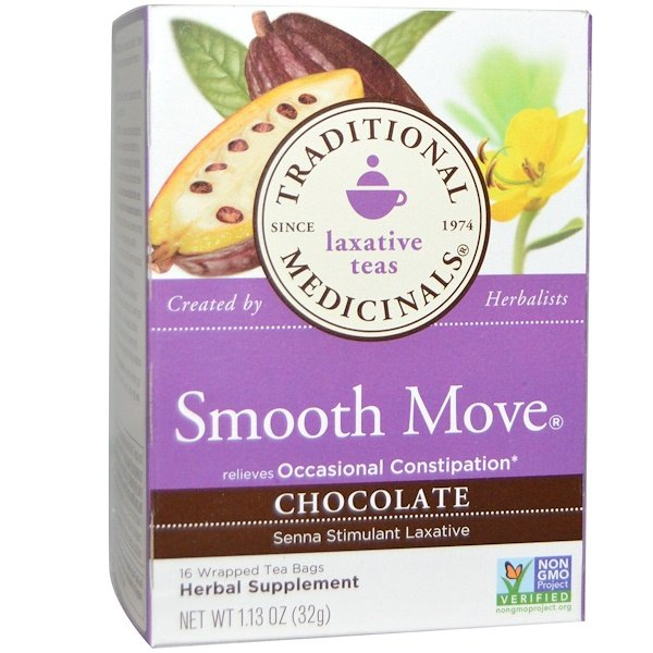 Traditional Medicinals, Smooth Move, Chocolate, 16 Wrapped Tea Bags, 1.13 oz (32 g) (Discontinued Item)