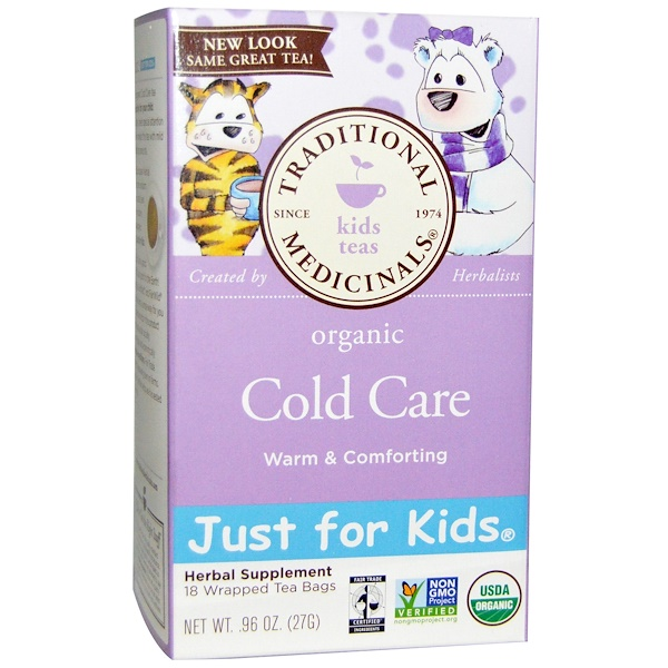 Traditional Medicinals, Just for Kids, Organic Cold Care, Naturally Caffeine Free Herbal Tea, 18 Tea Bags, .96 oz (27 g)