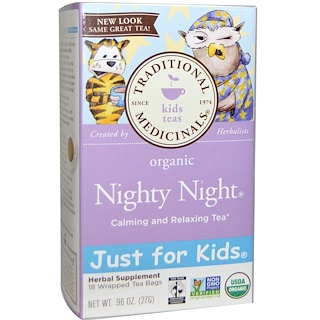 Traditional Medicinals, Just for Kids, Organic, Nighty Night, Naturally Caffeine Free Herbal Tea, 18 Wrapped Tea Bags, .96 oz (27 g)