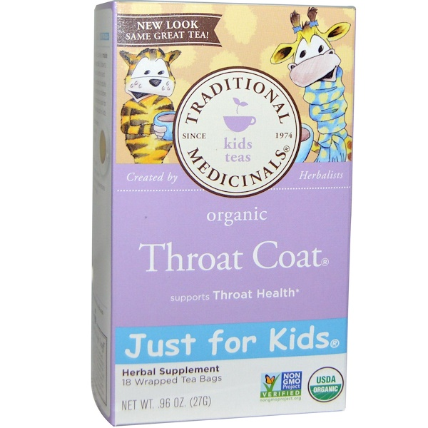 Traditional Medicinals, Just for Kids, Organic Throat Coat, Naturally Caffeine Free Herbal Tea, 18 Wrapped Tea Bags, .96 oz (27 g)