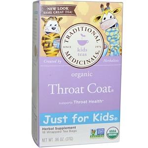Традитионал Медисиналс, Just for Kids, Organic Throat Coat, Naturally Caffeine Free Herbal Tea, 18 Wrapped Tea Bags, .96 oz (27 g) отзывы покупателей