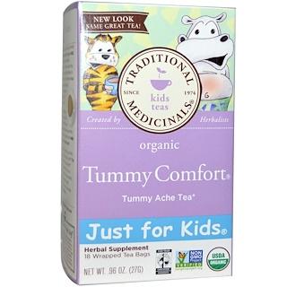 Traditional Medicinals, فقط للأطفال، المنتج العضوي لراحة البطن ، شاي أعشاب طبيعي خالي من الكافيين، 18 كيس شاي ملفوف ، 0.96 أوقية (27 غرام)