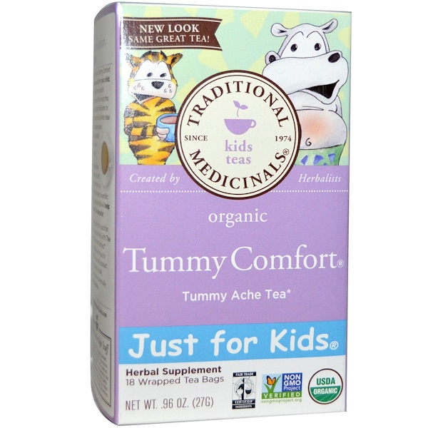 Traditional Medicinals, Just for Kids, Organic Tummy Comfort, Naturally Caffeine Free Herbal Tea, 18 Wrapped Tea Bags, .96 oz (27 g) (Discontinued Item)