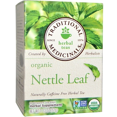 Купить Травяные сборы, органический травяной чай из листьев крапивы, натуральный продукт, не содержащий кофеина, 16 чайных пакетиков в индивидуальной упаковке, 32 г (1, 13 унции)