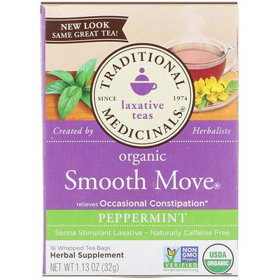 Купить Органический мятный чай Smooth Move Peppermint, без кофеина, 16 пакетиков, 1.13 унц. (32 г)