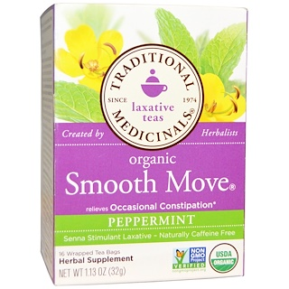 Traditional Medicinals, Laxative Teas, Organic Smooth Move, Peppermint, Naturally Caffeine Free  Herbal Tea, 16 Wrapped Tea Bags, 1.13 oz (32 g)