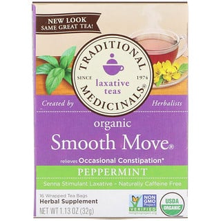 Traditional Medicinals, Organic Smooth Move, Peppermint, Caffeine Free, 16 Wrapped Tea Bags, 1.13 oz (32 g)
