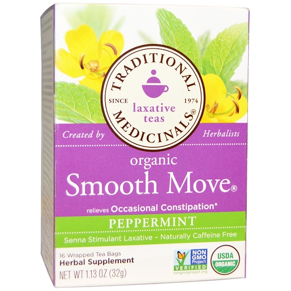 Traditional Medicinals, Laxative Teas, Organic Smooth Move, Peppermint, Naturally Caffeine Free  Herbal Tea, 16 Wrapped Tea Bags, 1、13 oz (32 g)