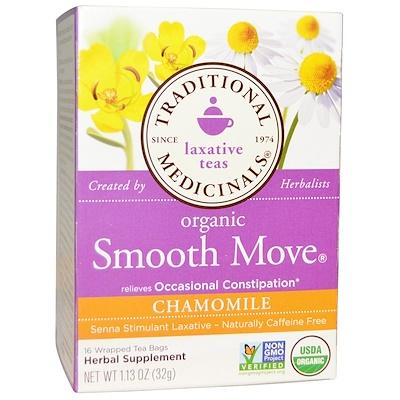 Organic Smooth Move, ромашка, без кофеина, 16 чайных пакетиков, 32 г (1,16 унций) органические куркума таволга и имбирь 16 изолированных чайных пакетиков 1 13 унций 32 г