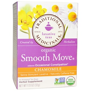 Traditional Medicinals, Laxative Teas, Organic Smooth Move, Chamomile, Naturally Caffeine Free  Herbal Tea, 16 Wrapped Tea Bags, 1.13 oz (32 g)