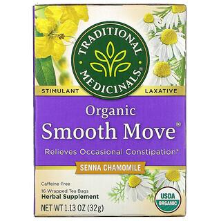 Traditional Medicinals, Organic Smooth Move, Senna Chamomile, Caffeine Free, 16 Wrapped Tea Bags, 1.13 oz (32 g)