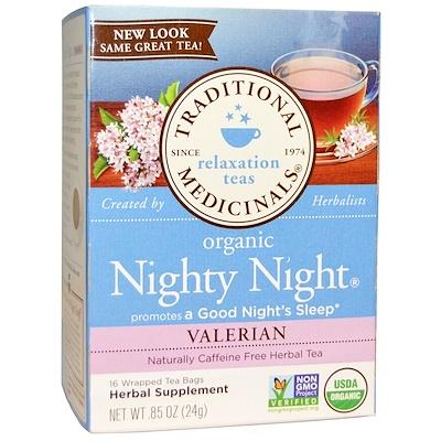 Органический чай для питья перед сном Nighty Night, валериана, 16 отдельных пакетика, 24 г