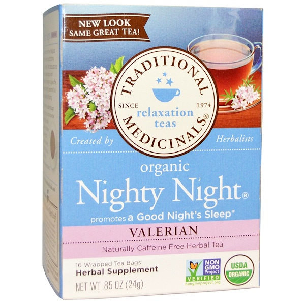 Traditional Medicinals, Relaxation Teas, Organic Nighty Night, Naturally Caffeine Free Herbal Tea, Valerian, 16 Wrapped Tea Bags, .85 oz (24 g)