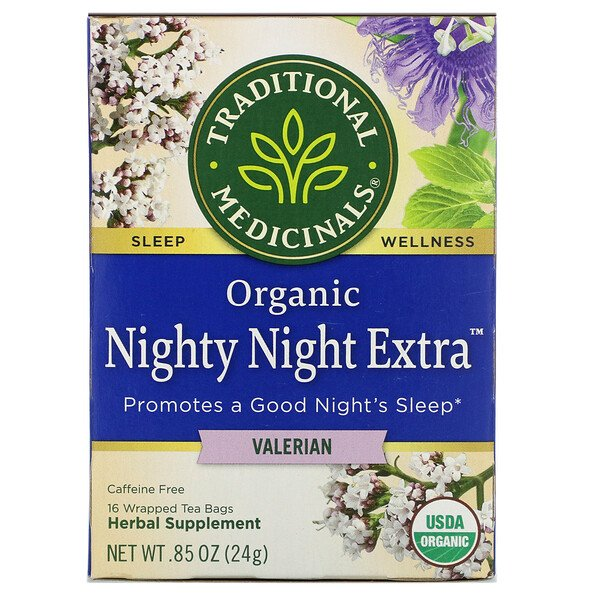 Traditional Medicinals, Organic Nighty Night Extra Tea, Valerian, 16 Wrapped Tea Bags, .85 oz (24 g)
