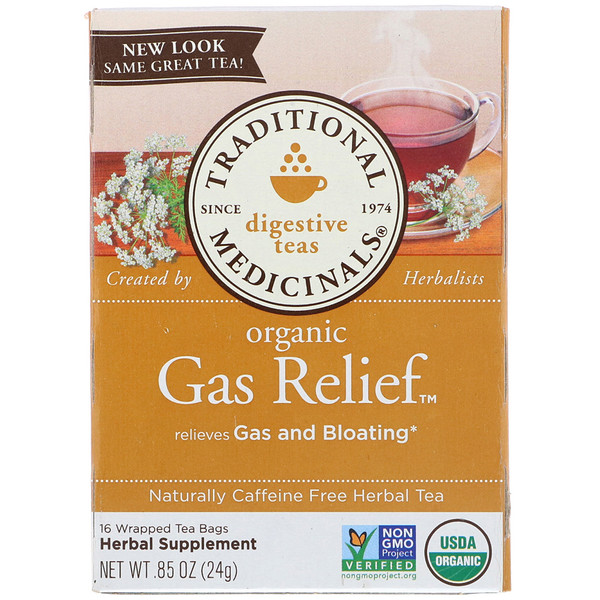 Digestive Teas, Organic Gas Relief Tea, Naturally Caffeine Free, 16 Wrapped Tea Bags, .85 oz (24 g)