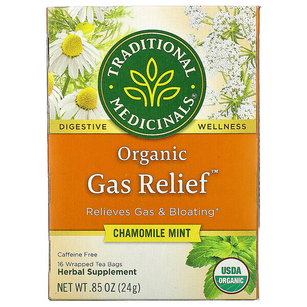 Organic Gas Relief, Caffeine Free, Chamomile Mint, 16 Wrapped Tea Bags, .85 oz (24 g)