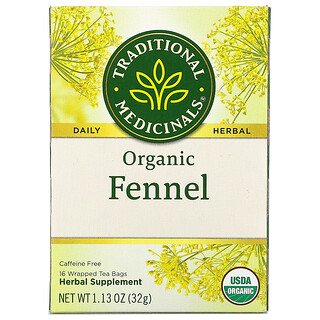 Traditional Medicinals, Organic Fennel, Caffeine Free, 16 Wrapped Tea Bags, 1.13 oz (32 g)