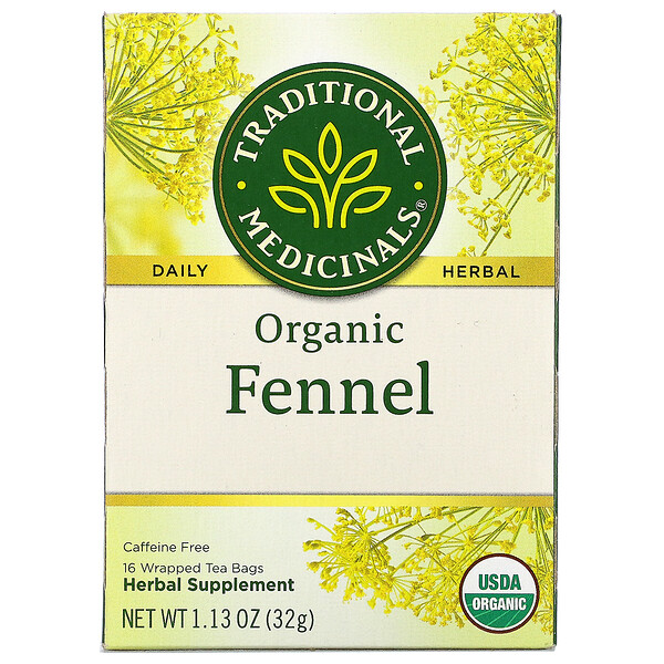 Traditional Medicinals, Organic Fennel, Caffeine Free, 16 Wrapped Tea Bags, 1.13 oz (32 g)