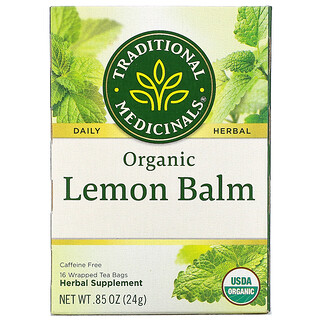 Traditional Medicinals, Organic Lemon Balm, Caffeine Free, 16 Wrapped Tea Bags, .85 oz (24 g)