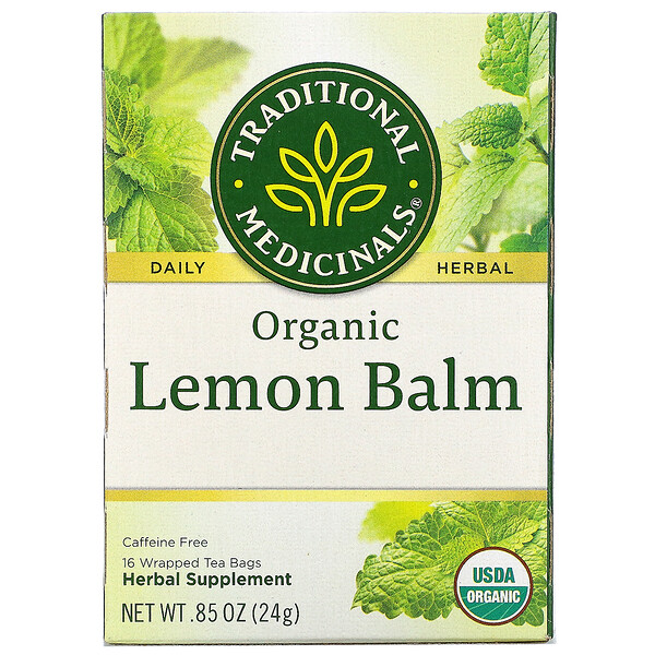 Organic Lemon Balm, Caffeine Free, 16 Wrapped Tea Bags, .85 oz (24 g)