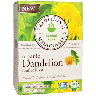 Traditional Medicinals, Органический чай Dandelion Leaf & Root без кофеина, 16 пакетиков, .99 унц. (28 г)