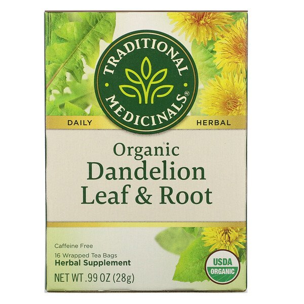 Herbal Teas, Organic Dandelion Leaf & Root Tea, Naturally Caffeine Free, 16 Wrapped Tea Bags, .99 oz (28 g)