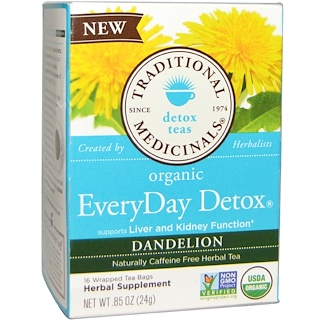 Traditional Medicinals, Detox Teas, Organic EveryDay, Dandelion, Naturally Caffeine Free, 16 Wrapped Tea Bags, .85 (24 g)