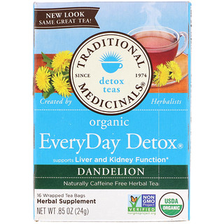 Traditional Medicinals, Organic EveryDay Detox Tea, Dandelion, Caffeine Free, 16 Wrapped Tea Bags, .85 (24 g)