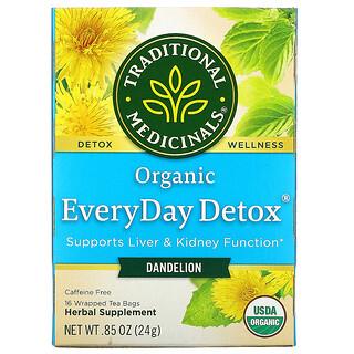 Traditional Medicinals, Organic EveryDay Detox, одуванчик, без кофеина, 16чайных пакетиков в упаковке, 24г (0,85унции)