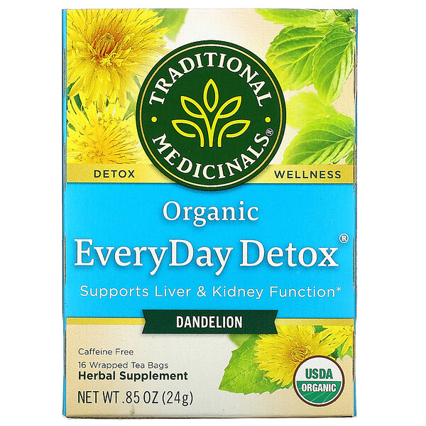 Organic EveryDay Detox, Dandelion, Caffeine Free, 16 Wrapped Tea Bags, .85 (24 g)
