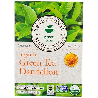 Traditional Medicinals, Green Teas, Organic Green Tea Dandelion, 16 Wrapped Tea Bags, 1.13 oz (32 g)