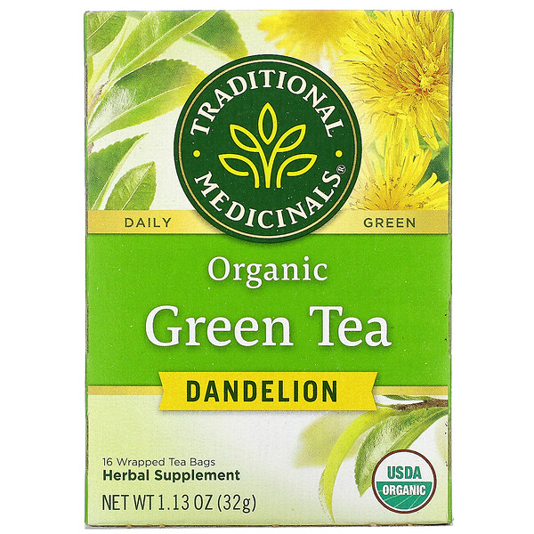 Organic Green Tea, Dandelion, 16 Wrapped Tea Bags, 1.13 oz (32 g)