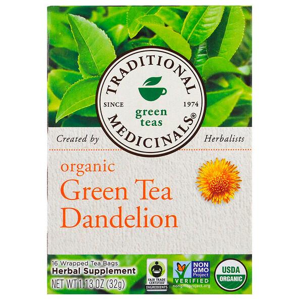 Thé vert bio au pissenlit, Sans caféine, 16 Sachets de thé emballés, 32 g